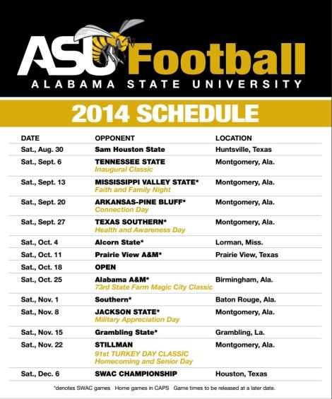2014 ASU Schedule